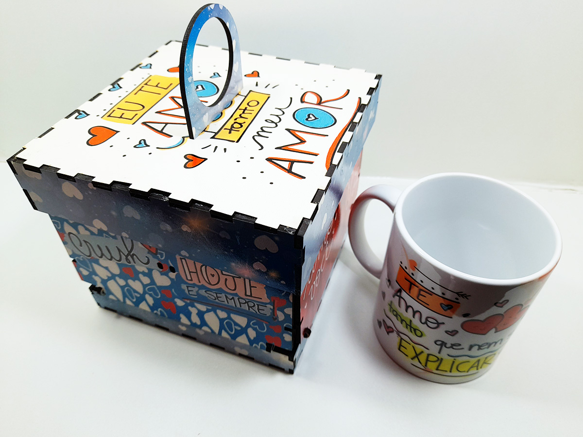 Caixa Explosão de Amor Presente Namorados + caneca + chocolates