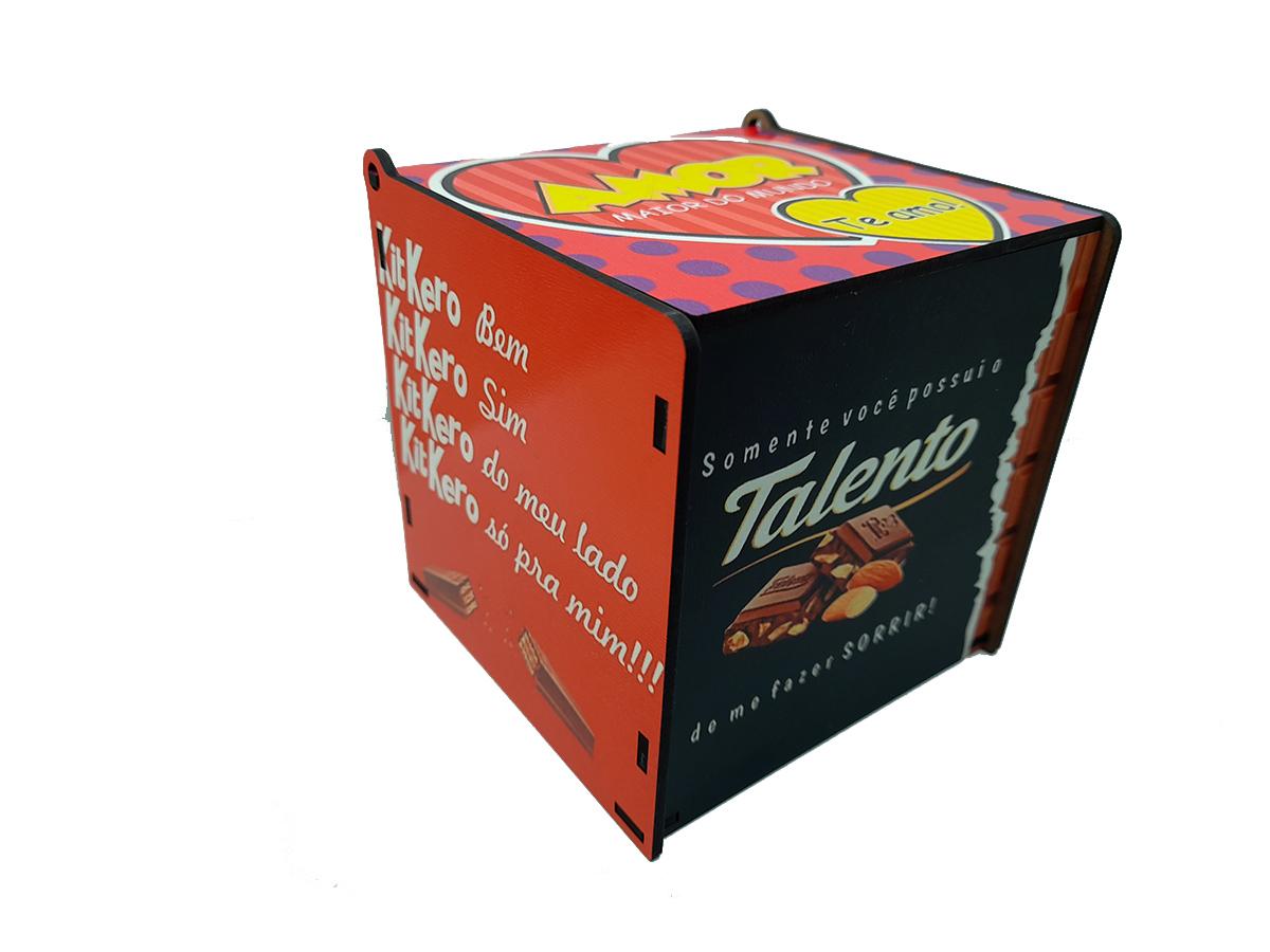 Caixa Presente Dia dos Namorados Amo Você e Chocolate
