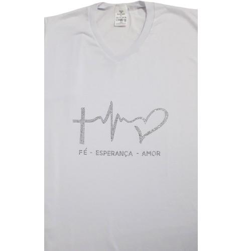 Camisa Branca Strass Fé, Esperança e Caridade