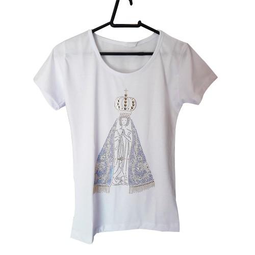 Camisa Branca Strass Nossa Senhora Aparecida