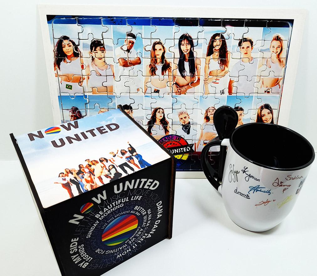Caneca com colher Now United + Quebra-cabeça 165 peças + caixa mdf 2021