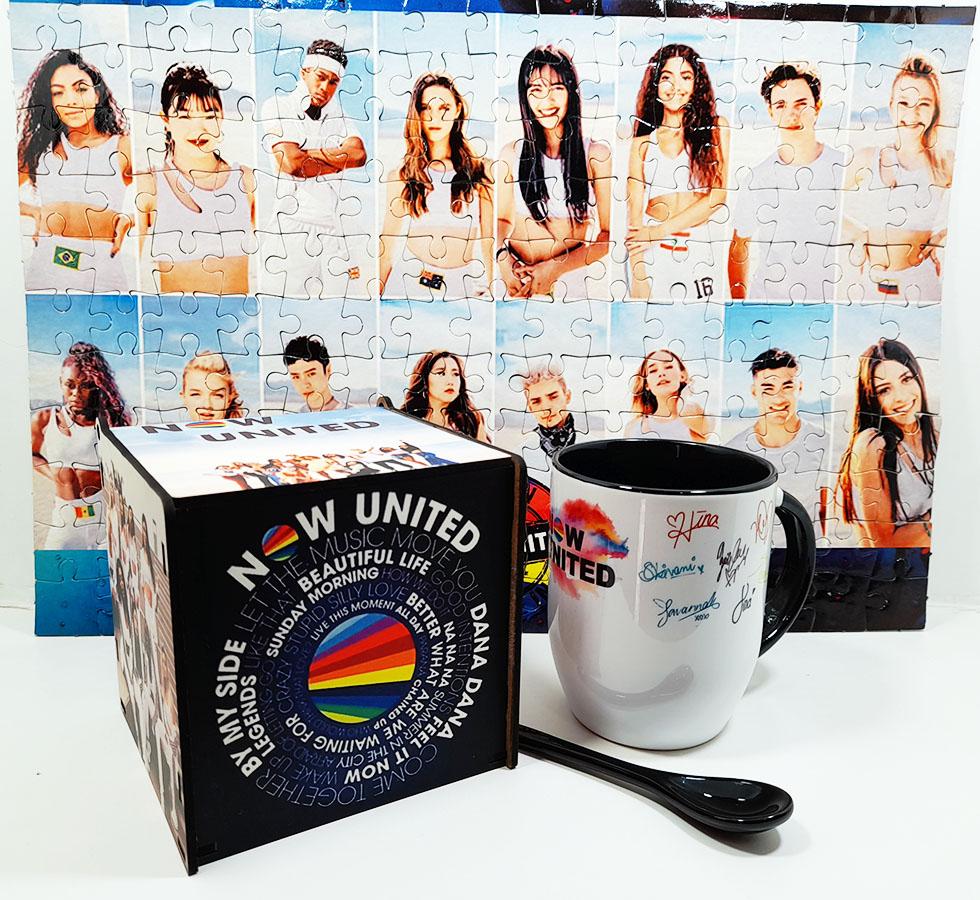 Caneca com colher Now United + Quebra-cabeça 90 peças + caixa Fã 2021