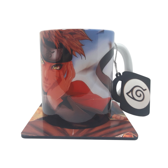 Caneca Naruto com Descanso de Copo
