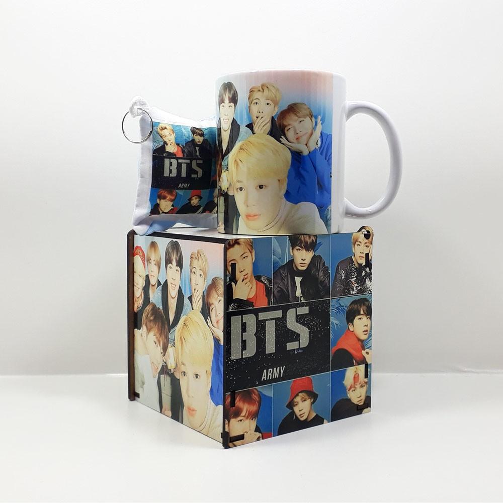 Caneca personalizada BTS e Caixa MDF personalizada com fotos