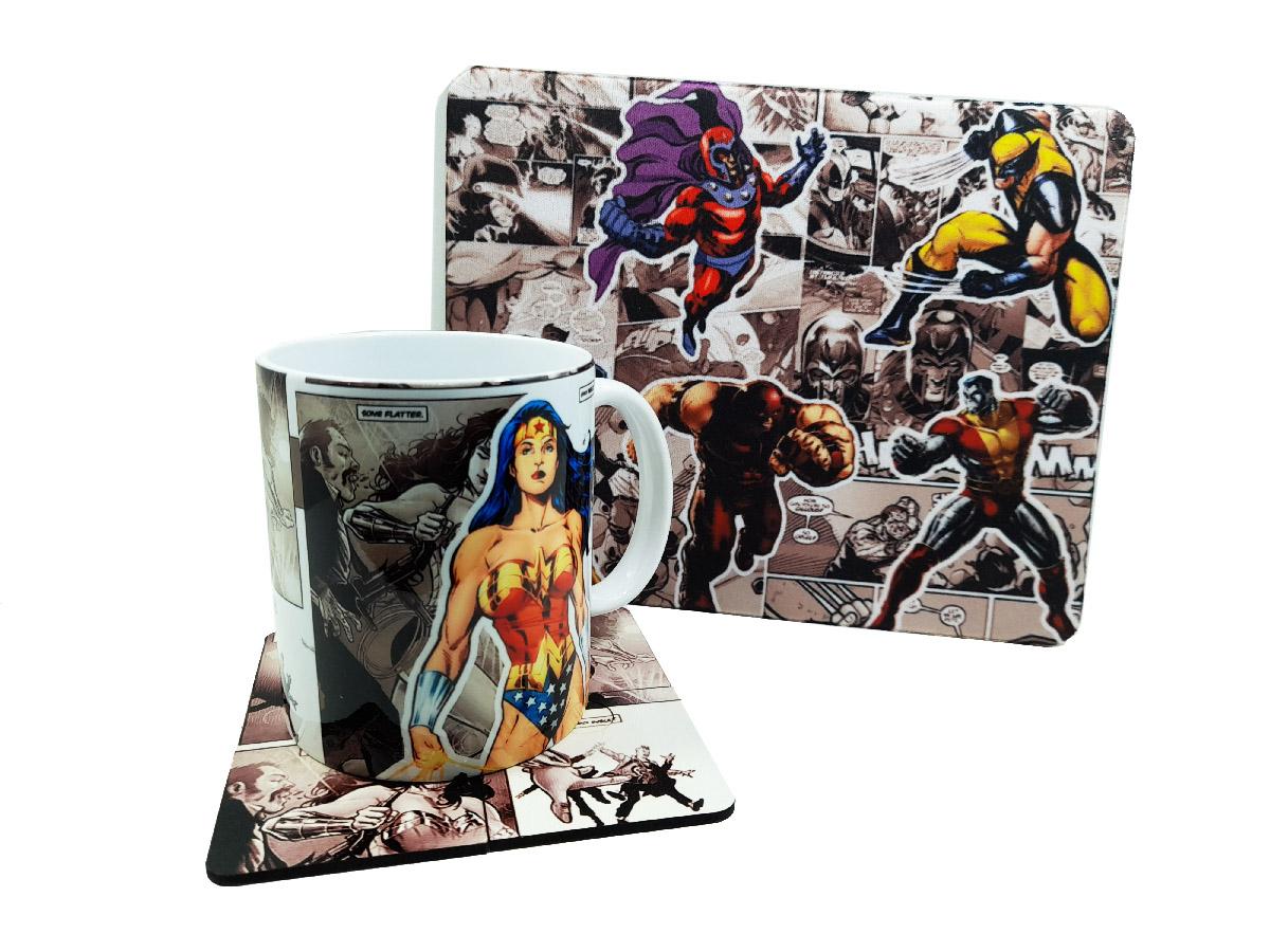 Kit Caneca Personalizada Heróis dos Quadrinhos + Mouse Pad quadrinhos