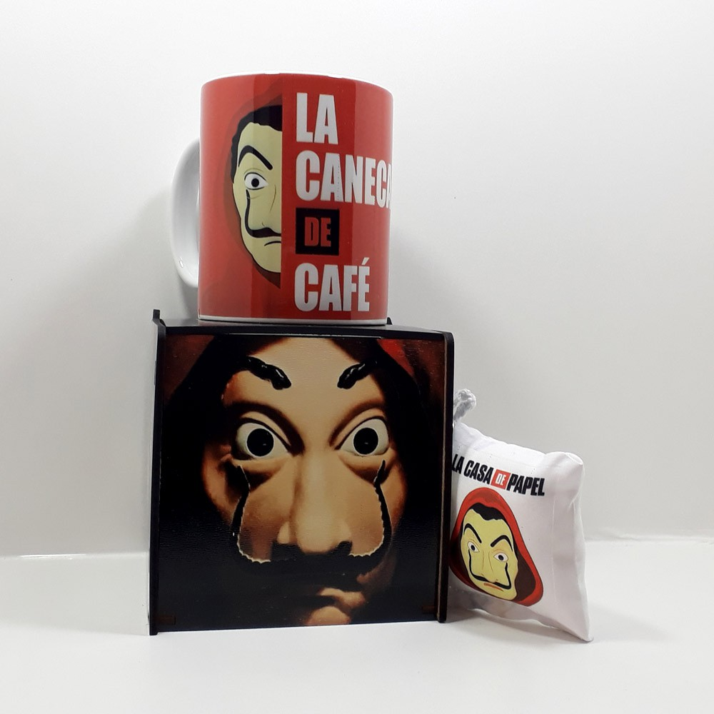 Caneca personalizada série La Casa de Papel e Caixa MDF personalizada com fotos