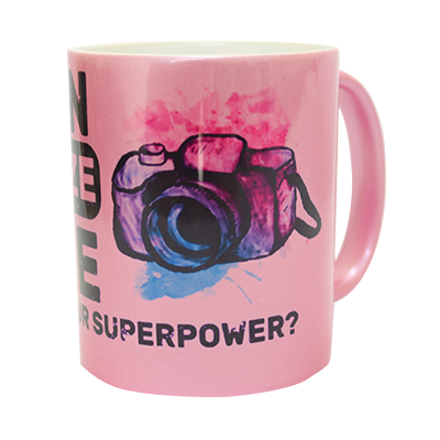 Caneca Rosa Cintilante - What´s Your Superpower? - Fotógrafos do Bem
