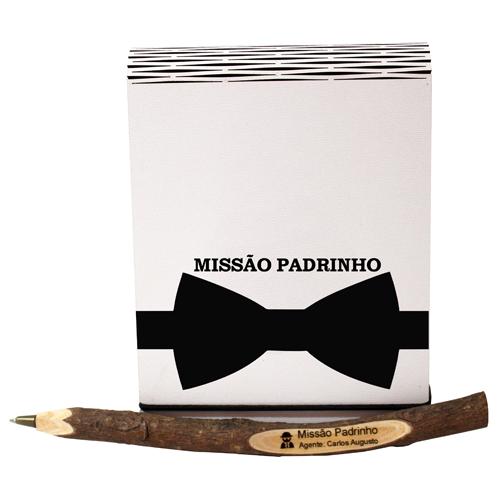 Kit Convite Padrinhos e Madrinhas - Caneta Personalizada + Bloco Anotações