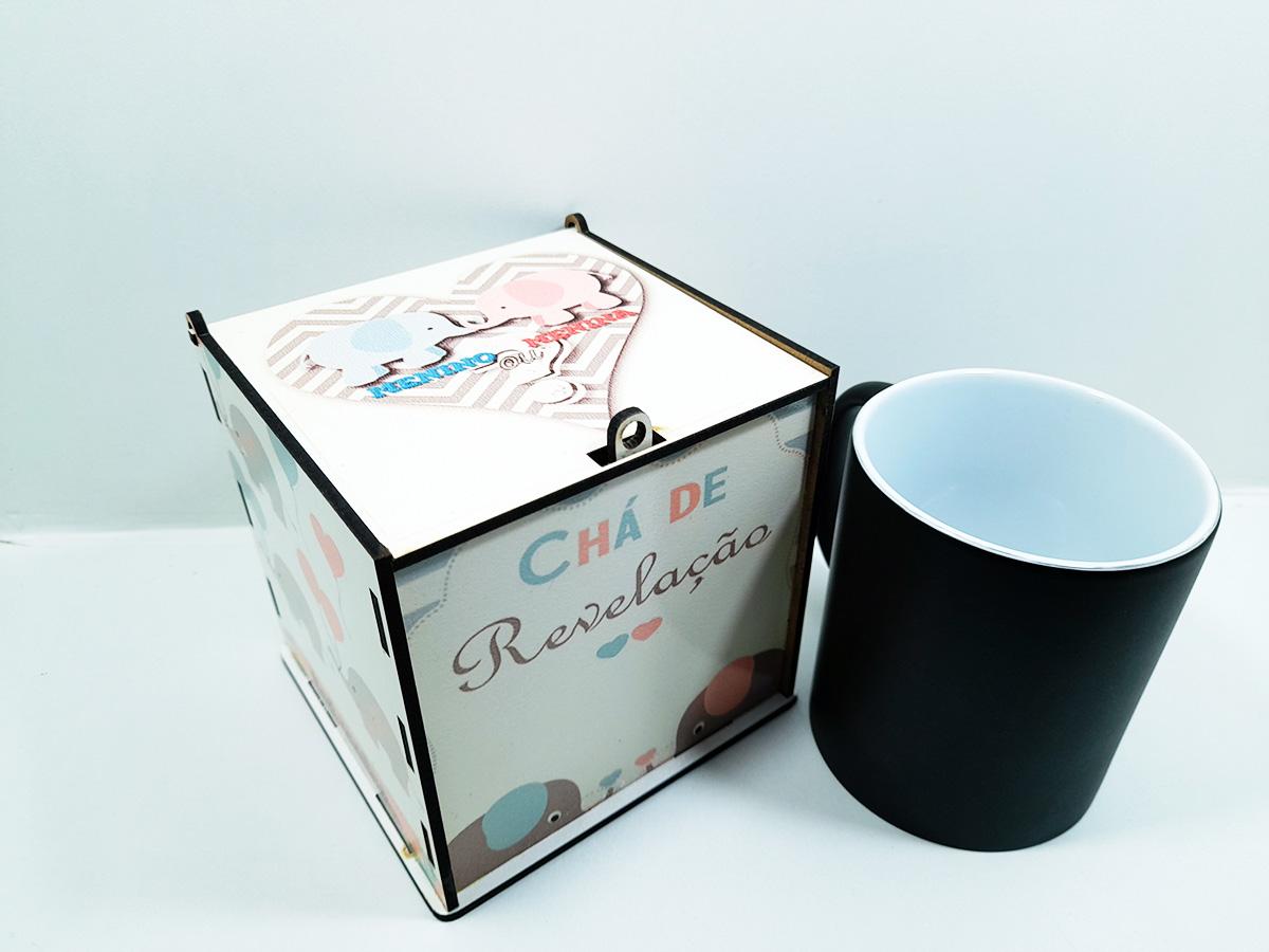 Chá de Revelação Elefantinho Kit Caneca Mágica + Caixa de madeira - Menina