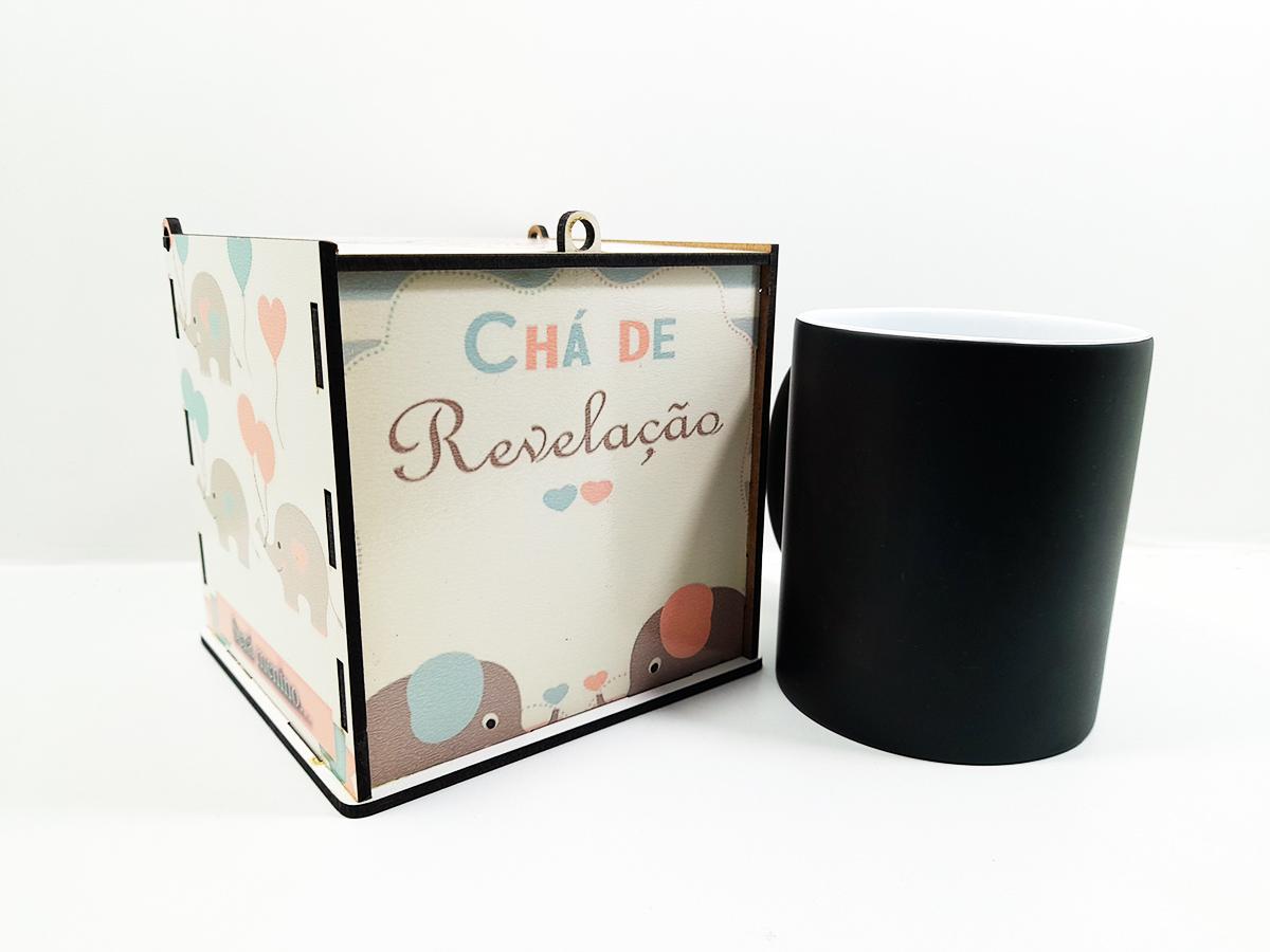 Chá de Revelação Elefantinho Kit Caneca Mágica + Caixa de madeira - Menino