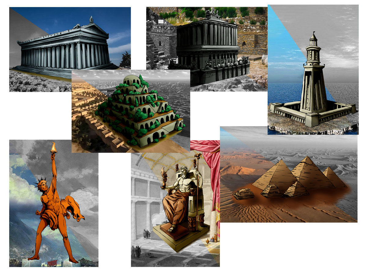 Coleção 7 Quebra-cabeças das 7 Maravilhas do Mundo - 90 peças