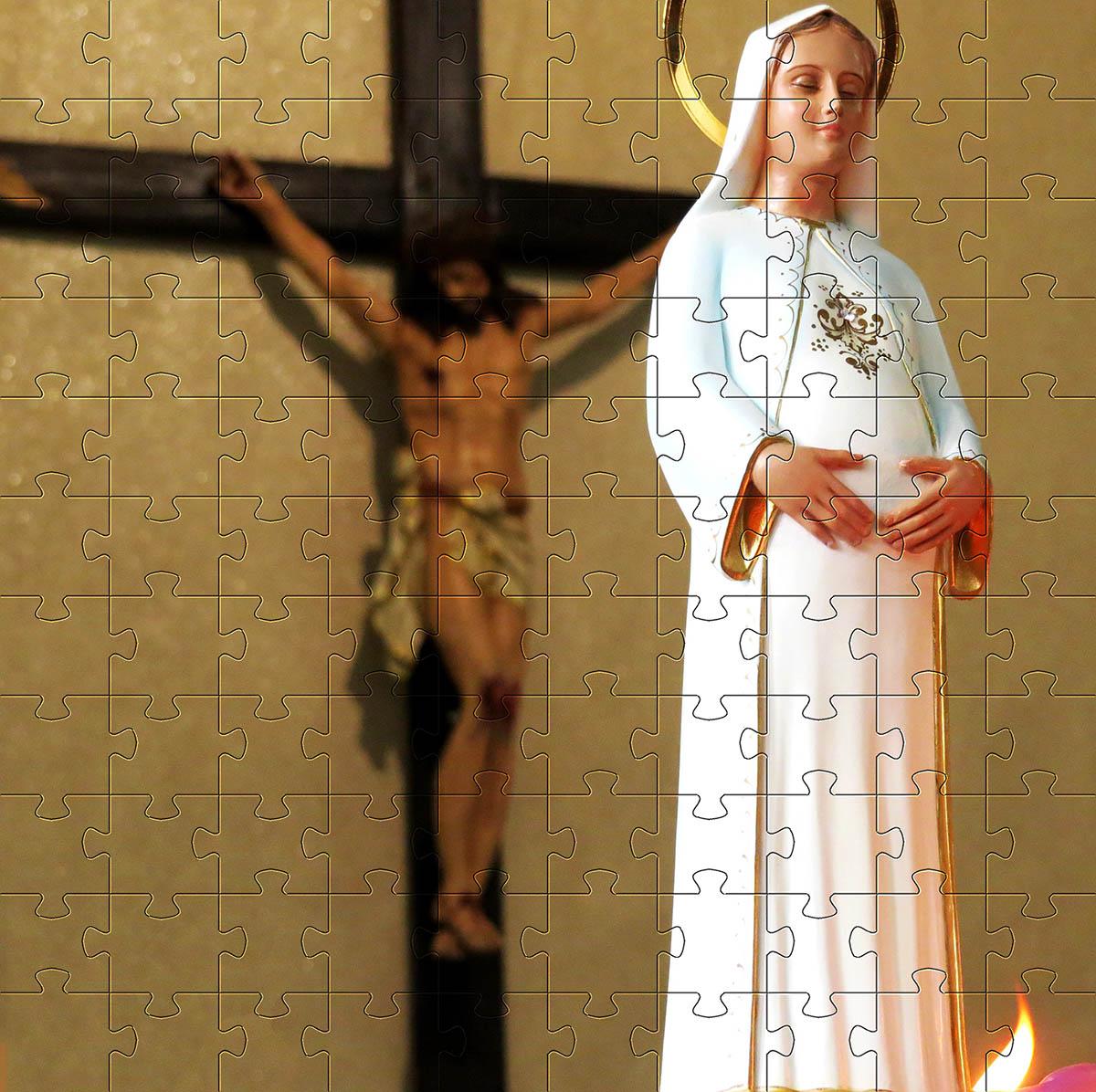 Coleção Exclusiva Quebra-Cabeças Religiosos  de 165 peças + Chaveiro presente