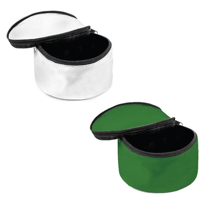 Combo Comedouro Portátil para Pets com tampa - Verde e Branco - Pet 228