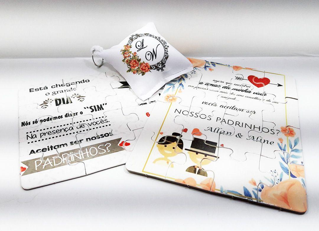 Convite de casamento quebra-cabeças 16 peças + almochaveiro