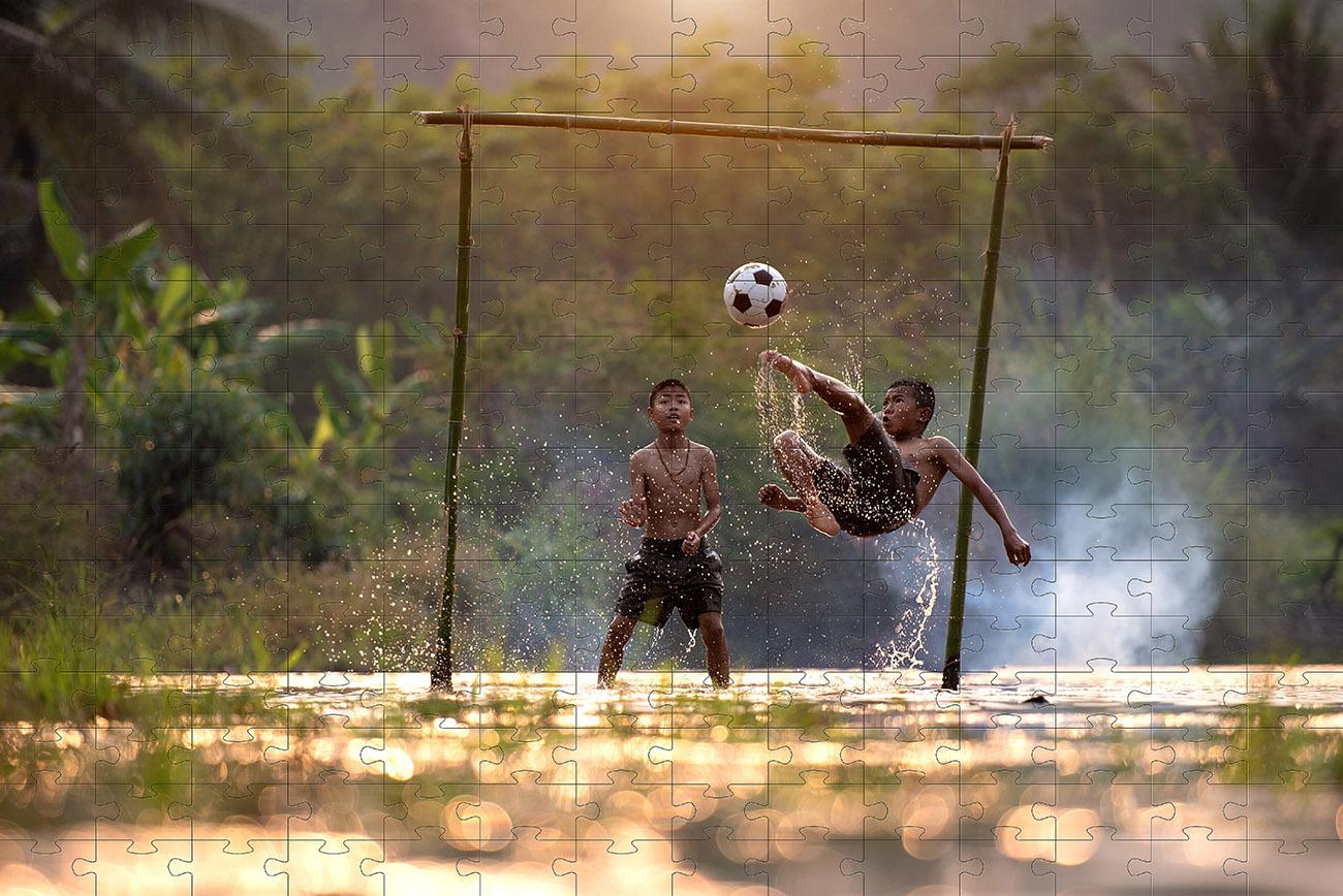 Kit 4 Quebra-cabeças cognitivos para idosos e crianças - Futebol arte