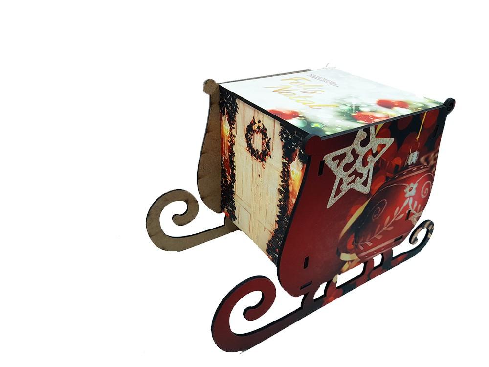 Kit Arvore de natal de MDF personalizada + caixa trenó + Quebra-cabeças