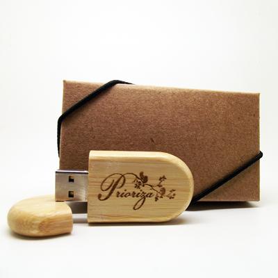 Kit caixa kraft + pendrive MM305 madeira 8 GB personalizado - 10 peças
