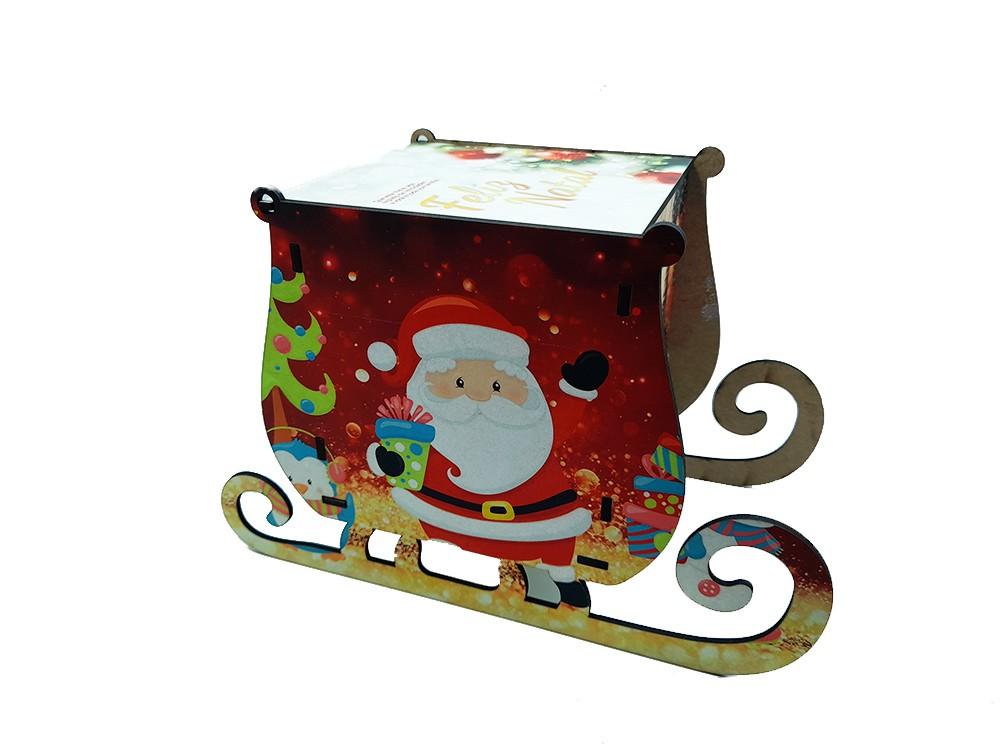Kit Caixa Natal Trenó personalizada com fotos + quebra-cabeças 60 peças