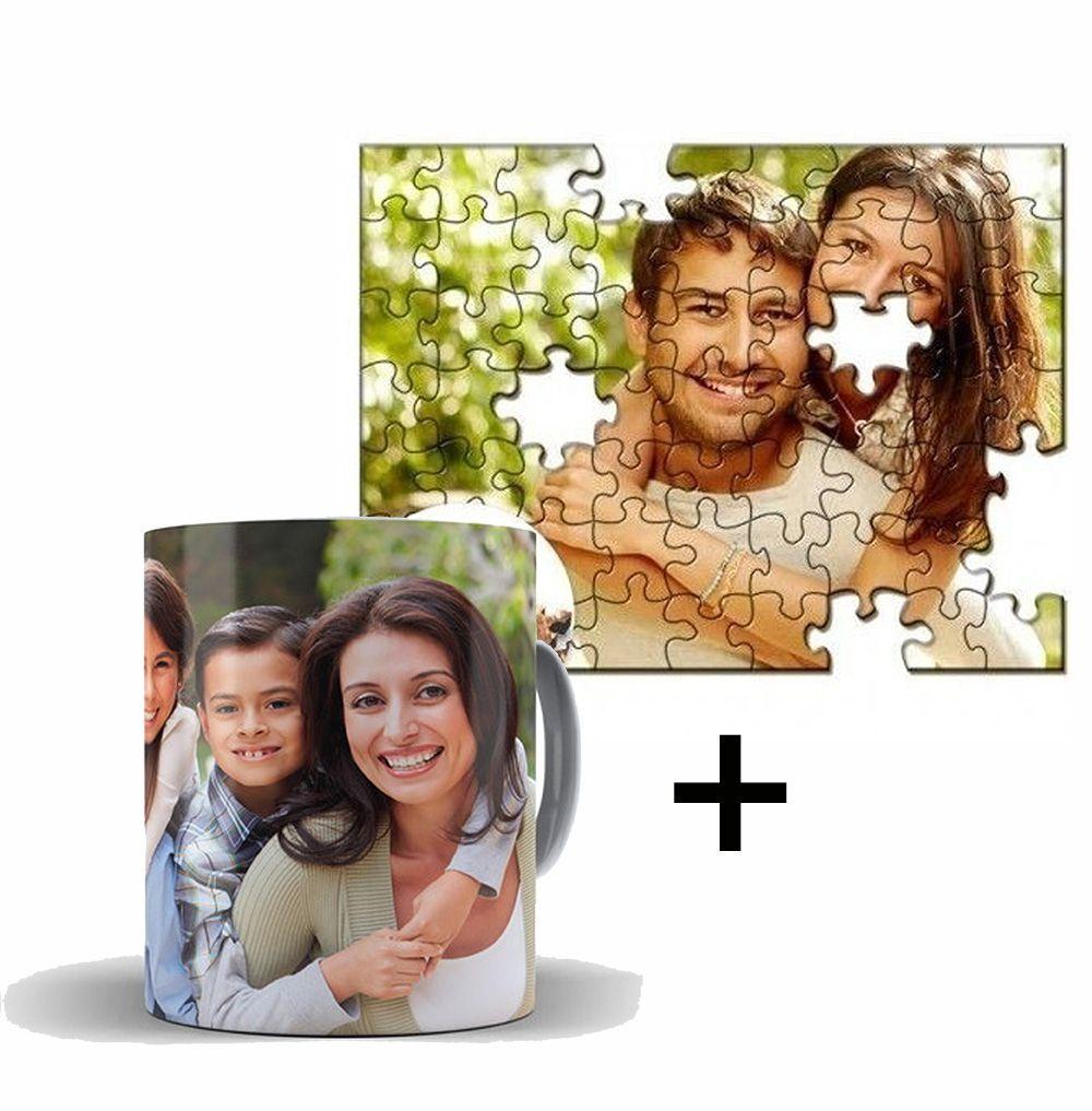 Kit Caneca Coffe + Quebra-Cabeça Personalizado com Fotos 90 peças - 1 Unidade