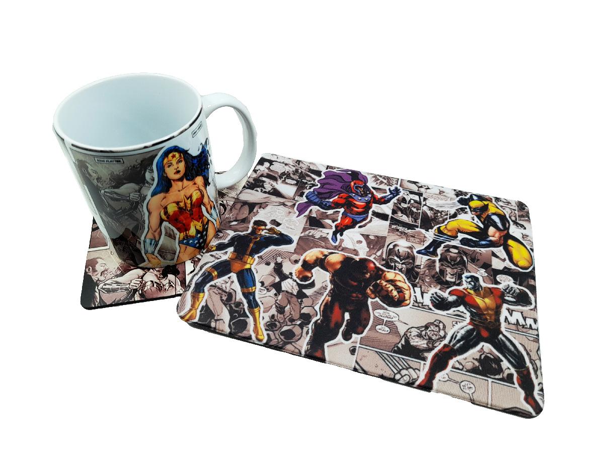 Kit Caneca Quadrinhos Heróis + Mouse pad quadrinhos
