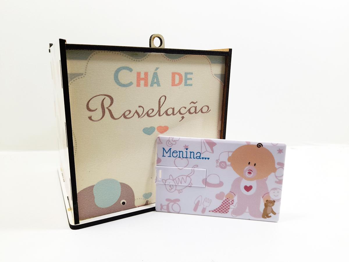 Kit Chá de Revelação Elefantinho + Pendrive Lembrança Exclusivo - Menina