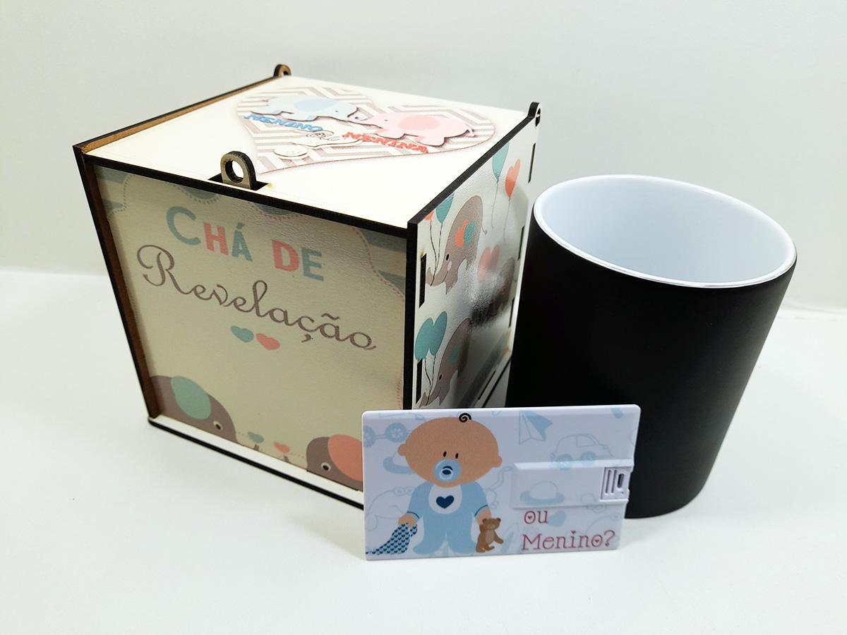 Kit Chá de Revelação Elefantinho + Pendrive Lembrança Exclusivo - Menino