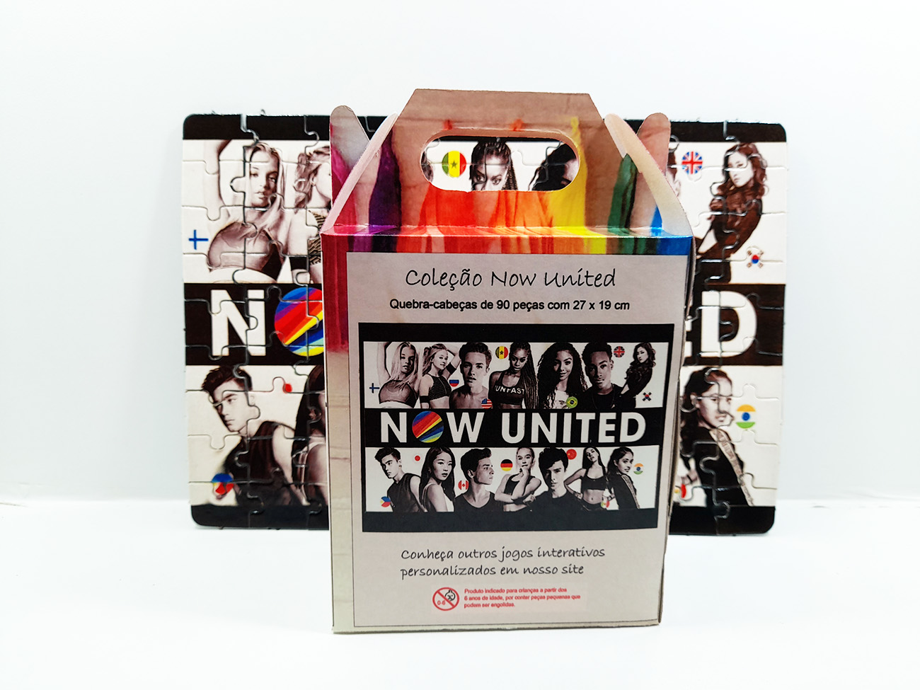 Kit Especial 2 Quebra-cabeças Now united com caixa  165 peças