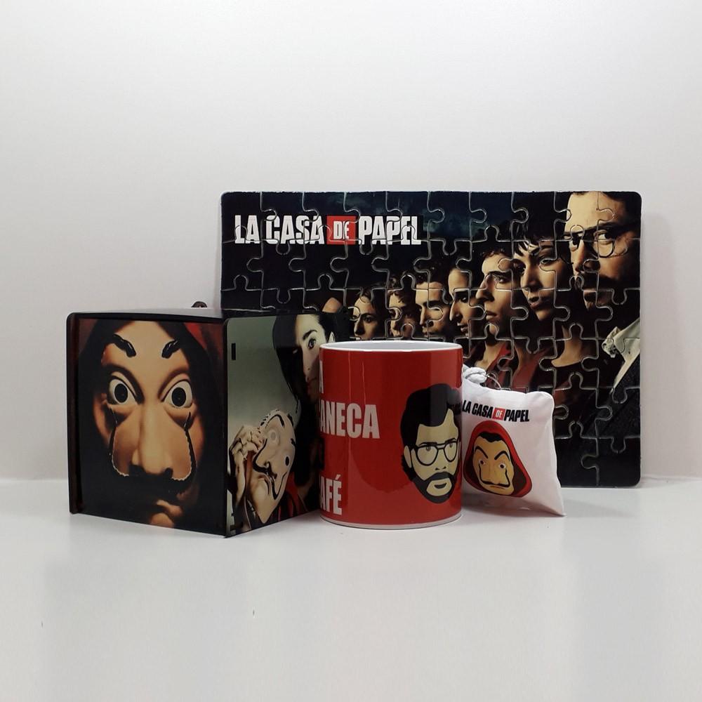 Kit Especial La Casa de Papel Quebra-cabeça com caixa MDF + caneca personalizada