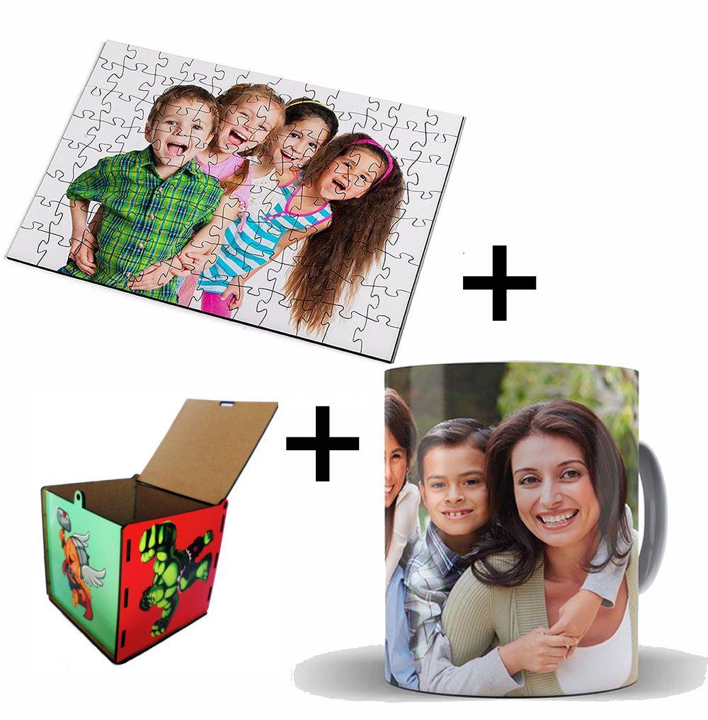 Kit Fique em Casa -Quebra-Cabeça + caneca Personalizada + Porta Treco