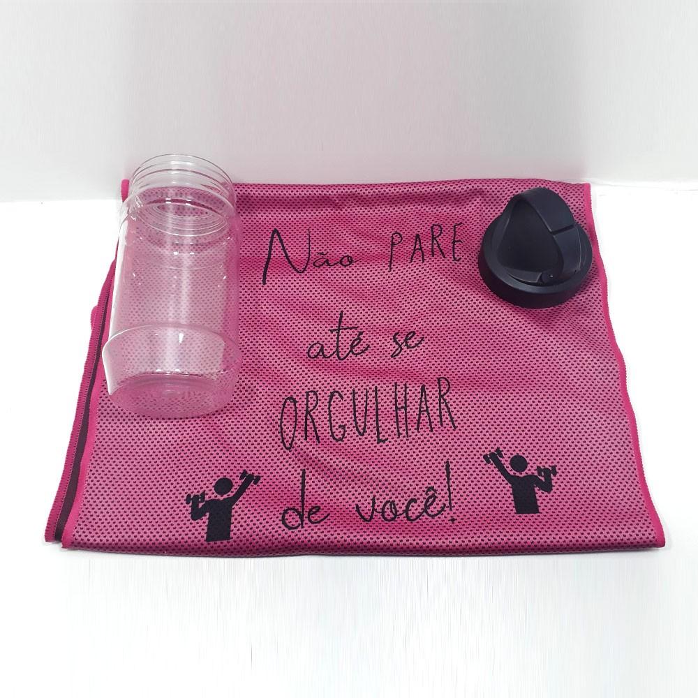 Kit FitCare 001 - Toalha na Garrafa + Embalagem Álcool em Gel