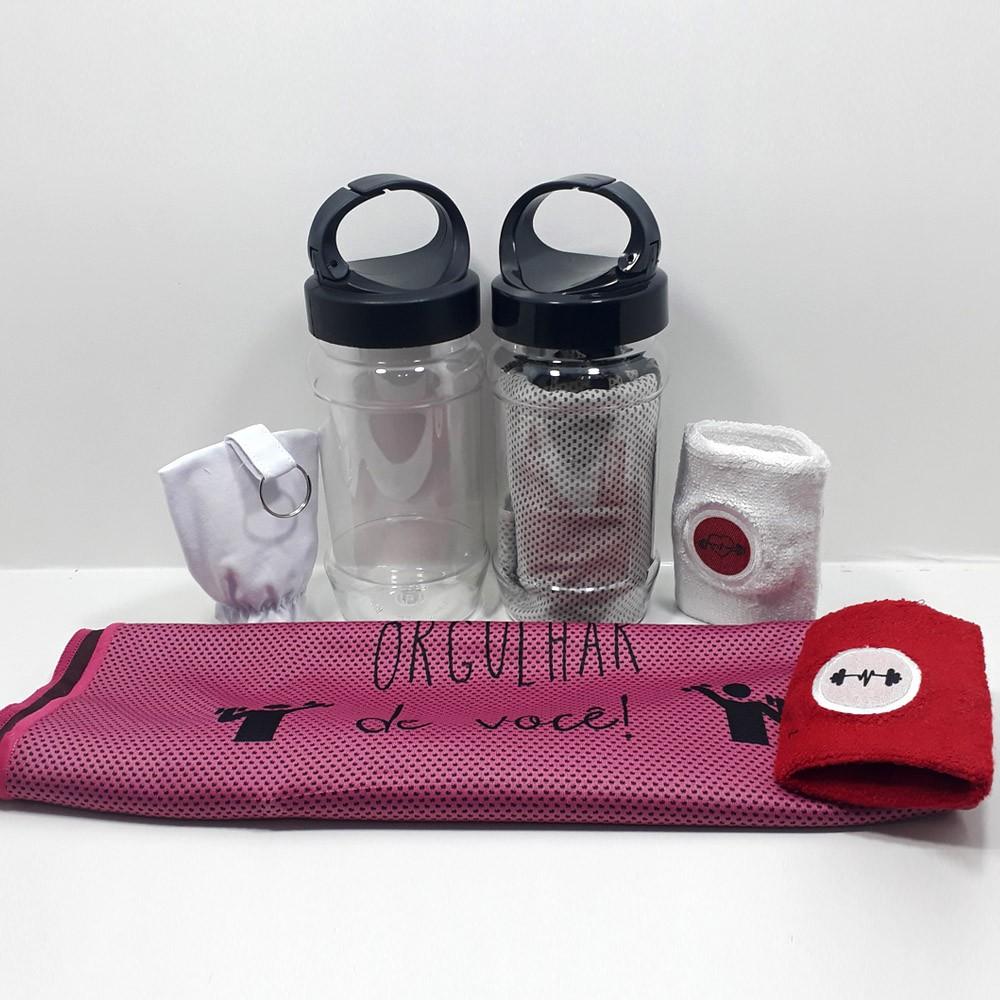Kit FitCare - Toalha + Embalagem Álcool em Gel + Munhequeira