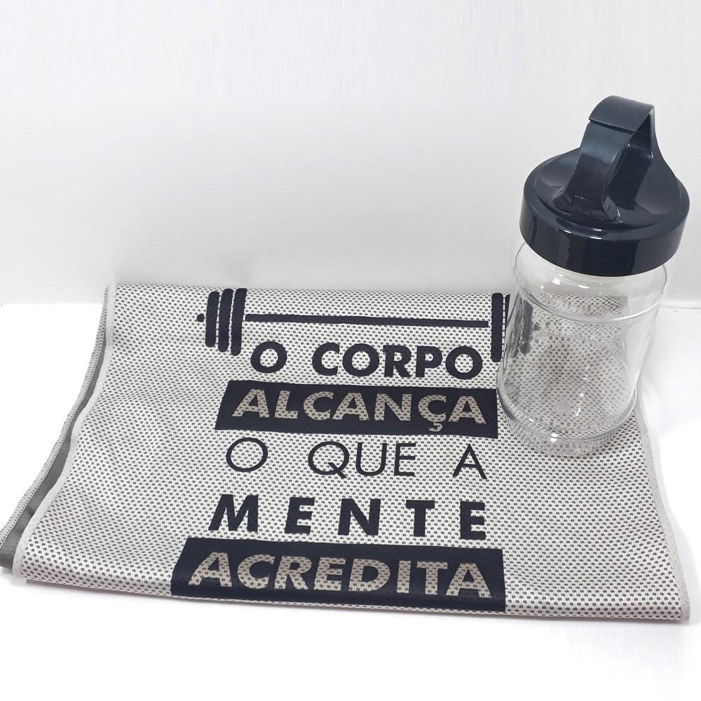 Kit Fitness - Munhequeira + Toalha na Garrafa