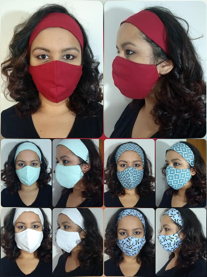 Kit Mascara respiratória personalizada + faixa de cabelo - Kit Se Cuide