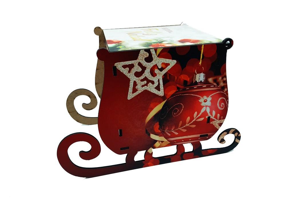 Kit Natal presente caixa trenó + quebra-cabeças 90 peças + caneca com foto
