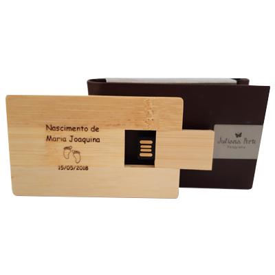 Kit Pencard Madeira com estojo de couro - Pendrives Para Fotógrafos - 4 Gb, 8 GB e 16 GB