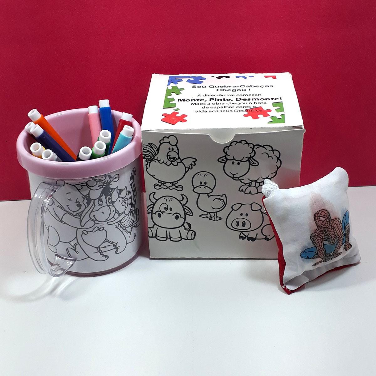 Kit Pintar Criativo – Caneca Acrílica Rosqueável para Colorir - KitPC-003