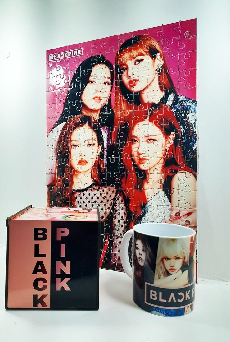 Kit Presente Black Pink Quebra-cabeça 165 peças +caixa MDF + caneca