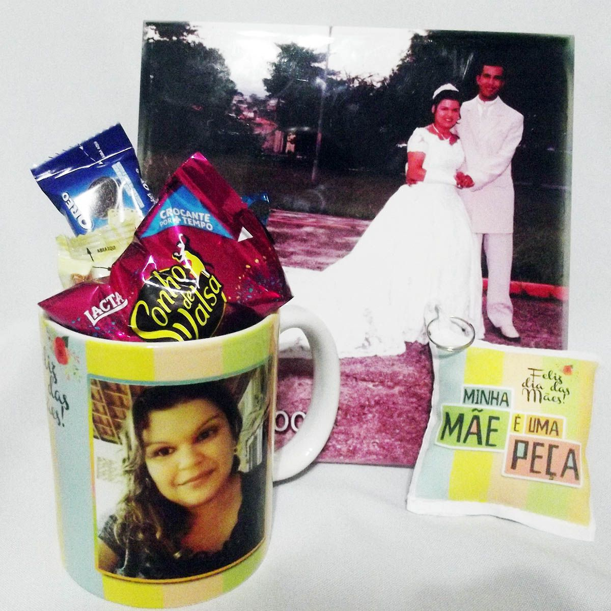 Kit Presente Dia da Mães - Caneca - Azulejo - Chocolates - Kit Lembranças