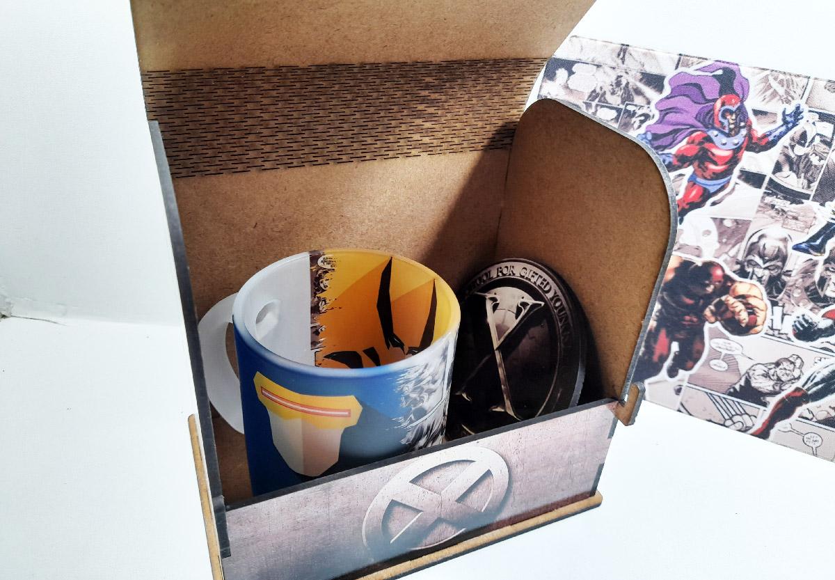 Kit Presente Dia dos Pais Nerd  X Men Heróis + Caneca + Mouse Pad