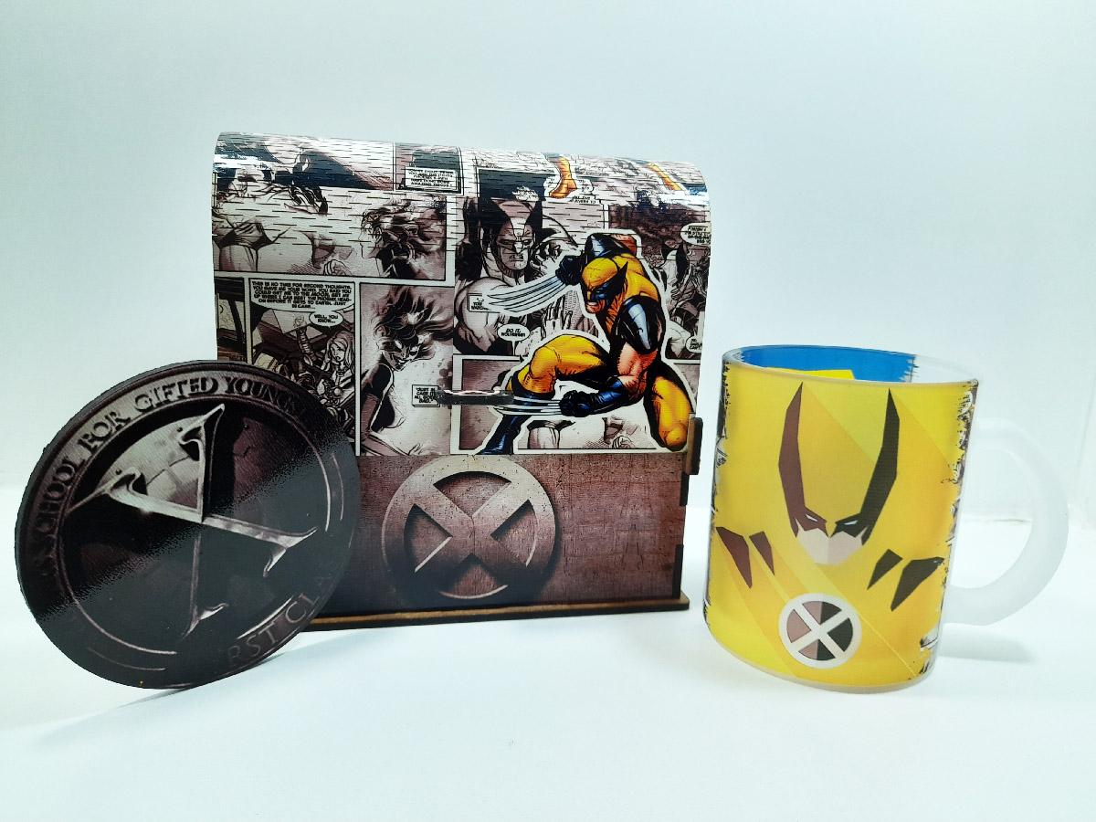Kit Presente Pai Nerd Bau X Men Heróis + Caneca de vidro