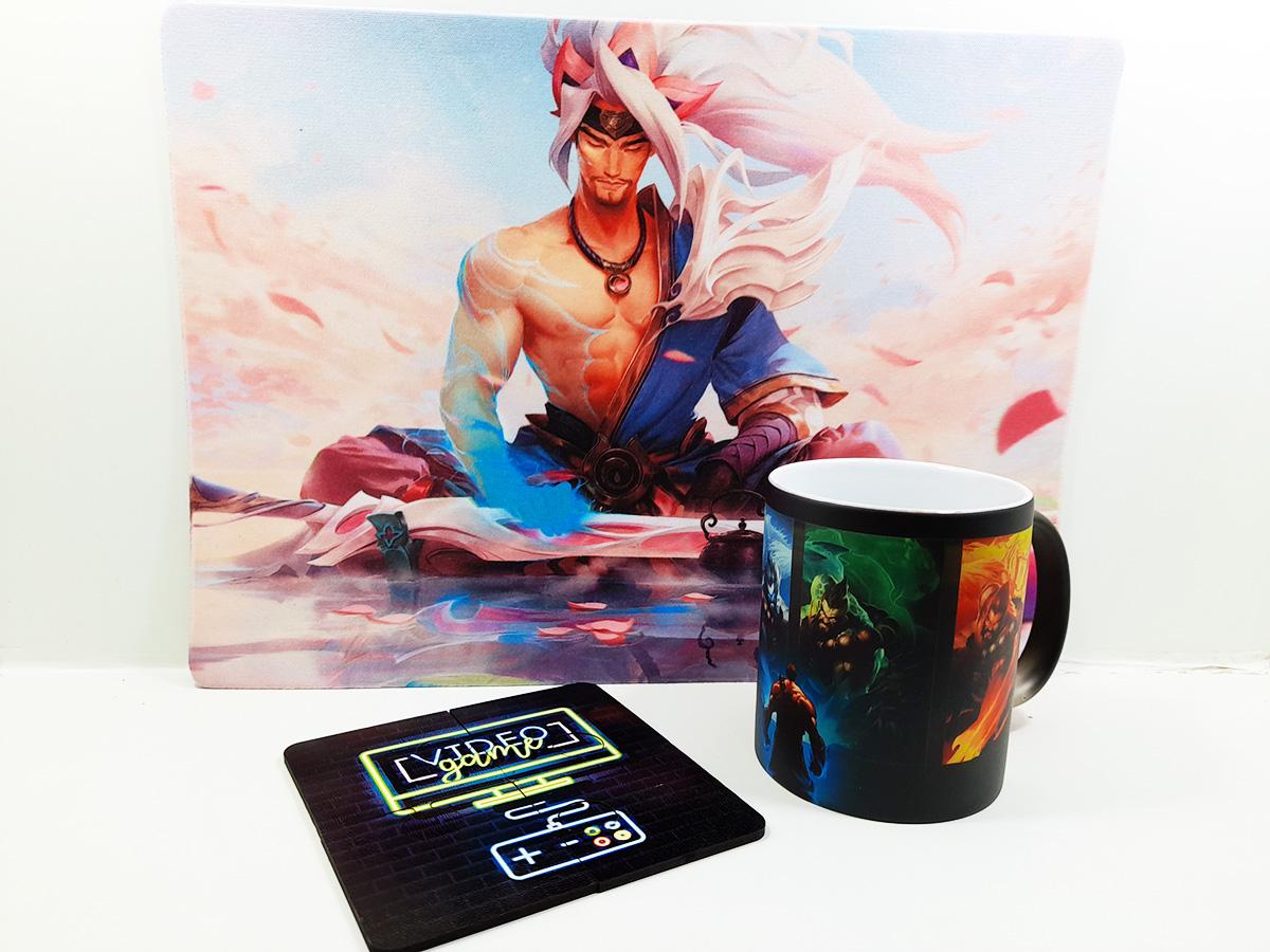 Kit Presente para Pai Gamer com Caneca mágica + Mouse pad Gamer 25 x 35 cm