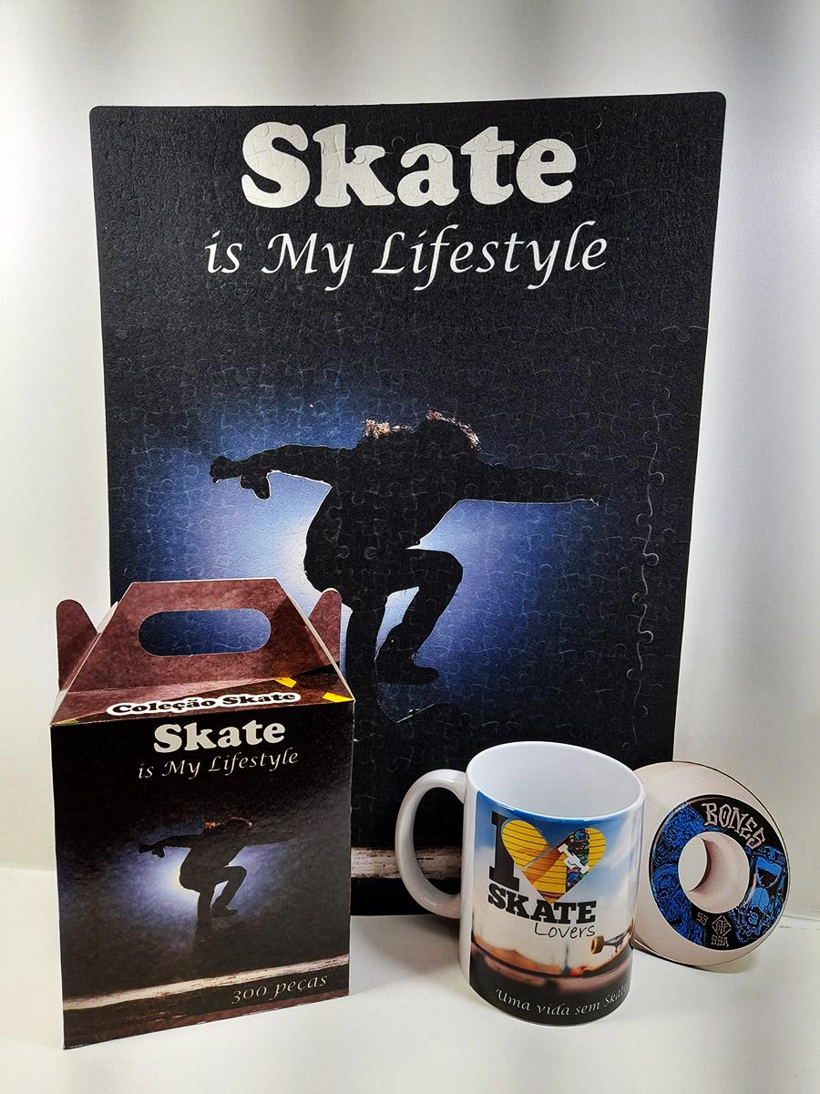 Kit Presente Skatista Quebra-cabeça 300 peças + caneca e porta copo