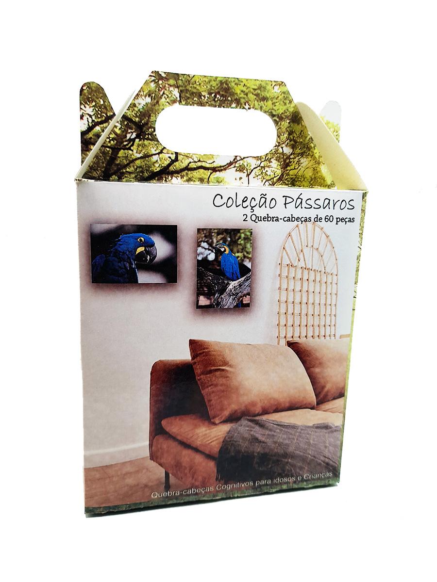 Kit Quebra-Cabeça Cognitivo Reabilitação para Idosos - Araras - 60 peças
