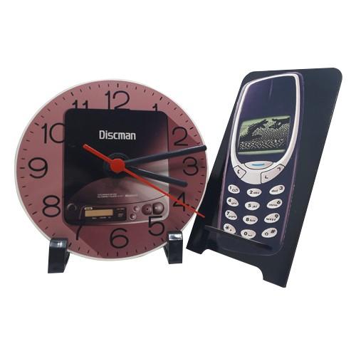 Kit Relógio Retrô + Porta Celular Retrô