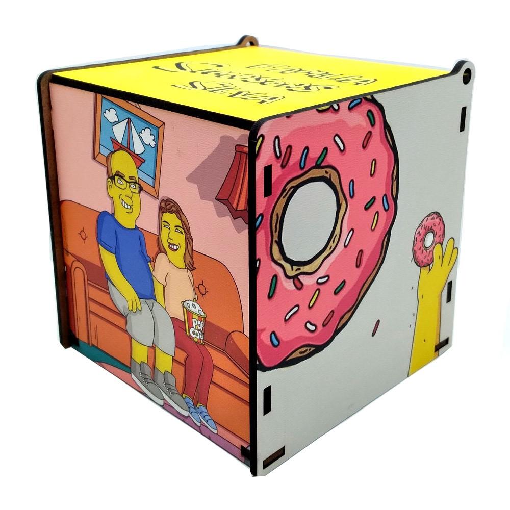 Kit Você Amarelo Simpsons - Caixa de MDF e caneca personalizada + porta copo