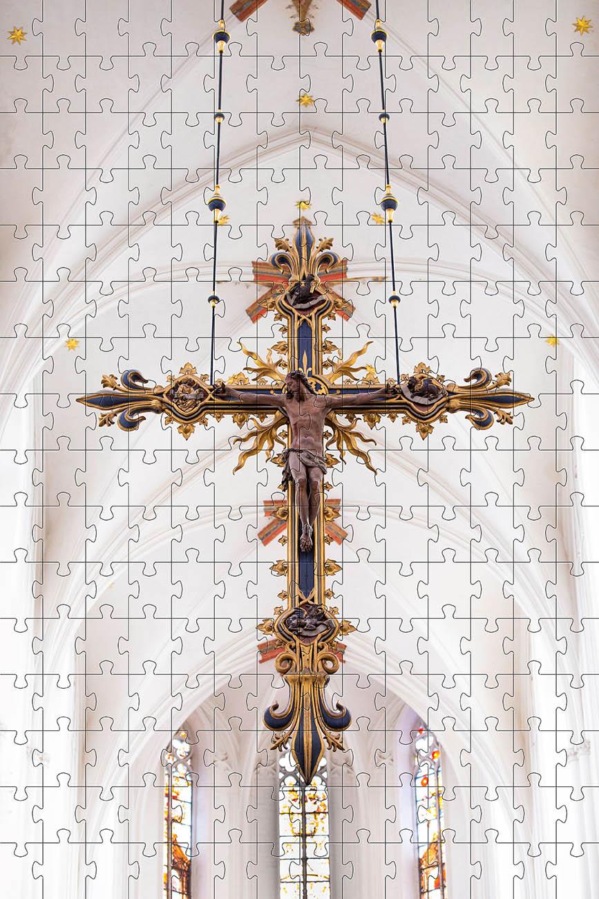 Mini Quebra-cabeça Cruz Arte Sacra de 120 peças