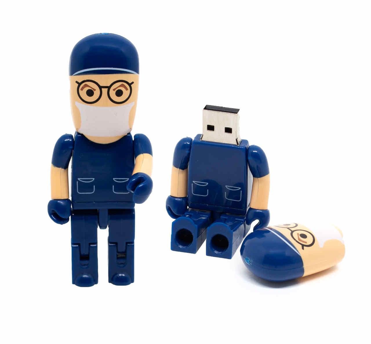 Pen Drive Médico Cirurgião Azul 8 GB