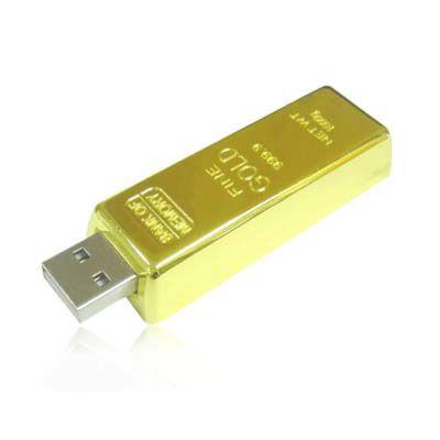 Pendrive Barra de Ouro personalizado - 4 GB, 8 GB e 16 GB
