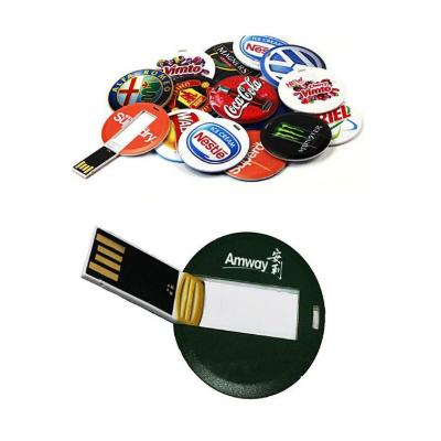 Pendrive Cartão redondo personalizado  - Modelo P186 - 4 GB, 8 GB e 16 GB