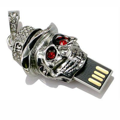 Pendrive caveira de prata - - Pendrive Personalizado - 8, 16, 32 GB